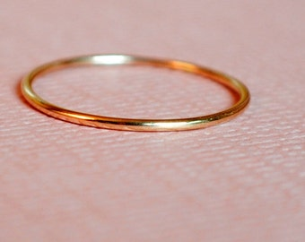 Rose Gold Ring / Pink Gold Ring / Solid Rose Gold Ring / 14k Gold Ring/ Thin Solid Gold Band/ Custom Teeny Weenie Ring *Solid 14k Rose Gold*