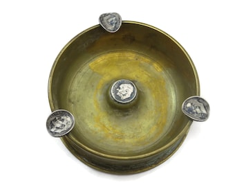 Trench Art Ashtray - Artillery Shell, Dimes, WWII Tobacciana