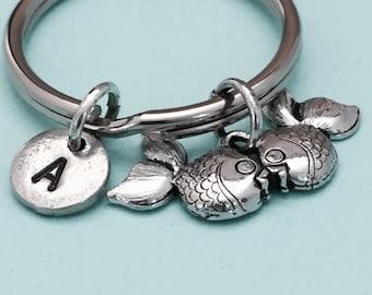 Kissing goldfish keychain, kising goldfish charm, animal keychain, personalized keychain, initial keychain, customized, monogram