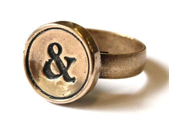 Solid Bronze Wax Seal Ring - Adjustable Antique Brass Band - Cast From Real Typewriter Keys - All Letters Available - A to &
