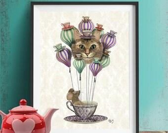 Cheshire cat poster - Cheshire Cat  Hot Air Balloon  - alice in wonderland art alice in wonderland print alice in wonderland decoration