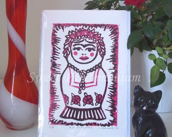 SALE Frida Kahlo Russian Doll Linoprint in Black and Pink- 'Fridoyshka' Limited Edition Unmounted