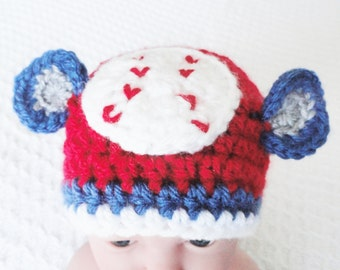 Newborn Baseball Hat Hand-crocheted Chicago Cubs Inspired Blue Red White Beanie with Ears By Distinctly Daisy