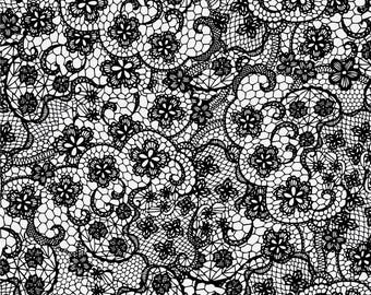 RJR Patrick Lose Odds and Ends Black and White Fabric 2900-002 White Background Black Lace  BTY