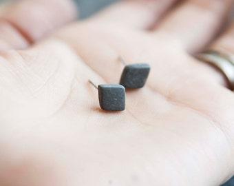 Mens earrings, earrings for men, grey earrings, tiny earrings, ceramic earrings, porcelain earrings, black stud earrings, matte earrings