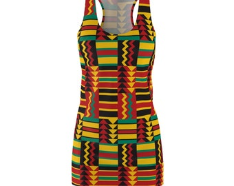 African Print Racerback Dress Rlw1879