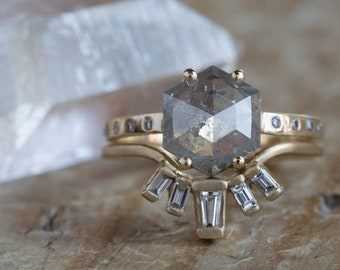 One of a Kind Grey Rose Cut Hexagon Diamond Engagement Ring