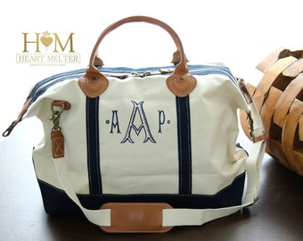 Sale! Monogrammed Weekender Navy Bag -SALE- Monogram Weekender - Duffle Bag - Monogrammed Overnight Bag - Carry ON Bag - Bridal Gift