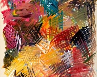 """Acrylics - on paper - OrangeRedBlack - Acrylics 11""""x12"""" 2001"""