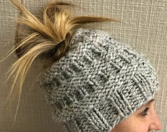 Grey Messy Bun Knitted Hat