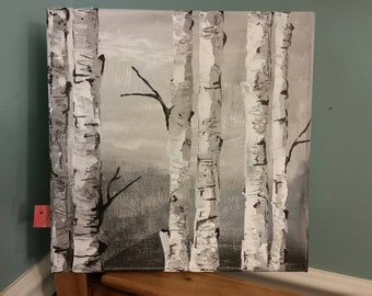 Trees. Nature. Woodland. Birch trees. Acrylic painting