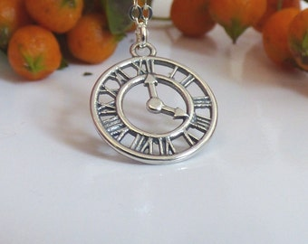100% Sterling Silver Clock Necklace, Vintage Clock, Time Necklace, Clock Jewelry, Necklace, Silver Clock