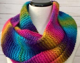 Rainbow Knit Scarf, handmade scarf, long scarf, knit scarf, rainbow scarf