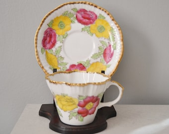 SALE! Teacup and Saucer with Holder Iceland Poppy Salisbury Numbered Teacup Set