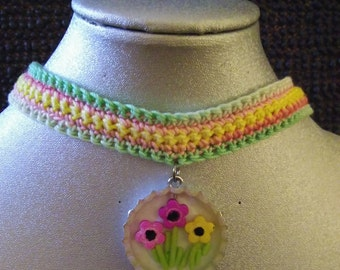 crocheted choker with bottle cap and resin pendant