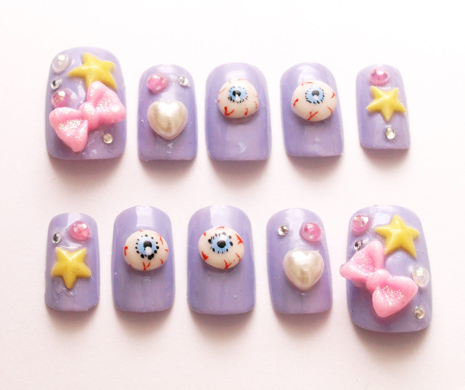 Pastel goth lilac deco nails Harajuku creepy kawaii 3D