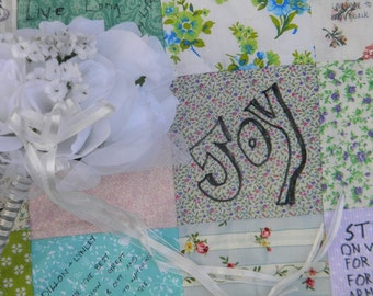 Wedding guest book quilt Patchwork Quilt 54X81 lap size match your wedding colors