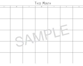 Printable Calendar, Perpetual Calendar Undated, Minimalist Calendar, A3, This Month Next Month