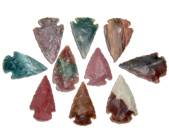 10 Arrowheads Authentic Hand Crafted Agate Stone Arrow Heads Randomly Selected FREE USA SHIPPING!