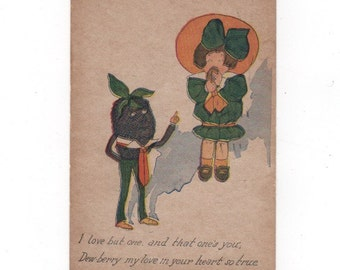 WTF antique postcard. Anthropomorphic blackberry. Terrifying antique postmarked 1913. Collectible ephemera vintage card.