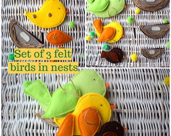 Set of Felt Birds in Nests