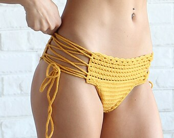 Brazilian Crochet Bikini Bottom - Lace Crochet Swimsuit Bottoms - Yellow Lace Up Crochet Bottoms - Brazilian Bikini