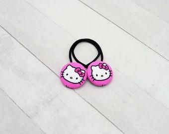 Hello Kitty Ponytail Holder, Cat Hair Tie, Kawaii Hair Button, Kitty Hair Clip, Hello Kitty Hair Elastic, Hello Kitty Party Favor