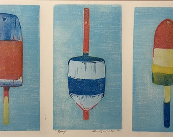 Lobster Buoys Block Print