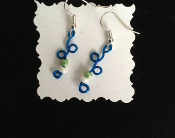 Royal Blue Twisted Wire Dangle Earrings with Accent Beads Hypoallergenic