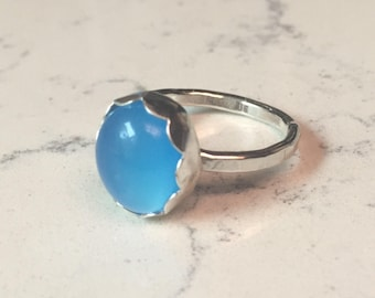 Dainty Blue Chalcedony Ring, Stacker, Sterling Silver