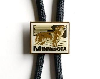 Minnesota wolf  bolo tie