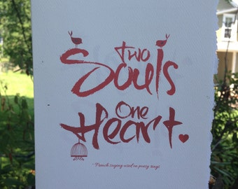 valentines day card, romantic card, two souls, one heart, soul card, wedding card, engagement card [ love cards, valentines day cards ]