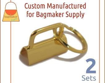 """1-1/4 Inch Deluxe Key Fob Hardware, Shiny Gold Finish, 2 Sets, 1.25"""", Purse Handbag Hardware, Jewelry Supply, KRA-AA006"""