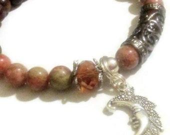Autumn Jasper gemstone brown wood bead Crystal accent Moon charm bracelet