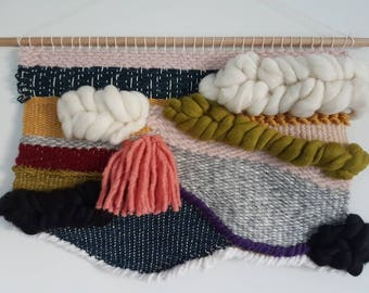 Large textured weave wall hanging in merino wool and hemp / READY TO SHIP