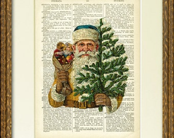 CHRISTMAS SANTA Dictionary Page Print - a fun Santa illustration on an antique dictionary page- charming vintage Christmas wall decor