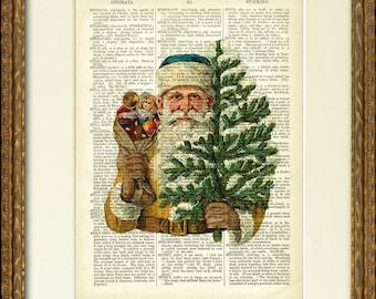 Noël SANTA dictionnaire Page Print - un fun illustration Santa sur une page de dictionnaire antique - vintage Christmas mur décor plein de charme