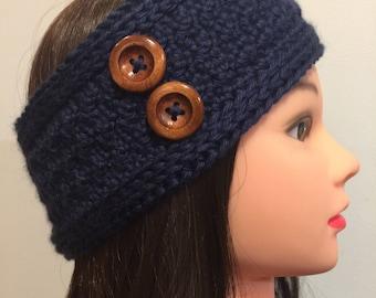 Navy Blue Crocheted Ear Warmer/Headband Headwrap with Buttons