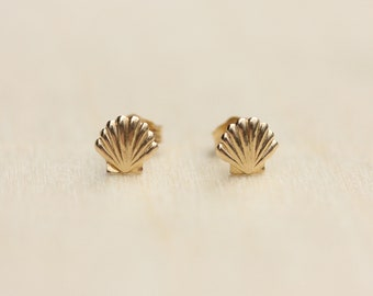 Seashell Studs Gold, 14K Gold Studs, 14K Shell Studs, Gold Shell Earrings, Gold Shell Studs, Shell Studs, Seashell, 14K Studs, 14K Earrings