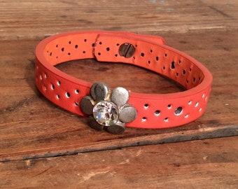 Leather Cuff Bracelet - Orange Bling