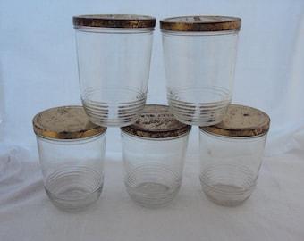Kerr Jelly Glass Jars, 1 pint size,  set of 5, c.1940's