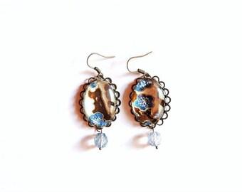 Boucles d'oreilles - Washi (marron, beige et bleu)