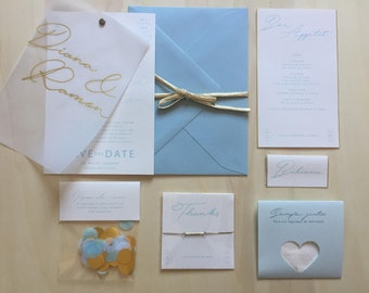 BLUE - stationery for your wedding (50 guests) full collection