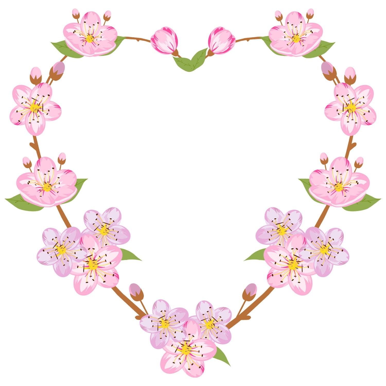 spring clipart sakura clipart spring wreath heart wreath floral rh etsystudio com Purple Flower Clip Art Transparent Lavender