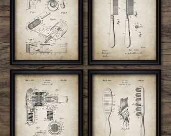 Hairdresser Patent Print Set Of 4 - Hair Salon - Hairdressing Decor - Dryer - Comb - Brush - Set Of Four Prints #1954 - INSTANT DOWNLOAD