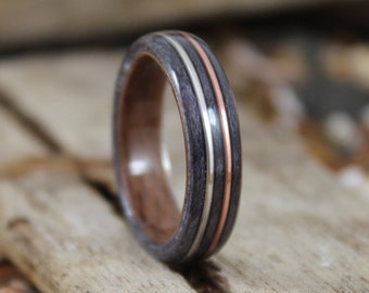 Walnut & Grey Maple Wood Ring with Copper and Silver, Mens Wood Ring, Womens Wood Ring, Wood Engagement Ring, Wood Wedding Band, Wooden Ring