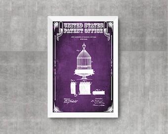 Birdcage Patent Print, Vintage Birdcage, Antique Birdcage, Bird Decor, Bird Cage Print