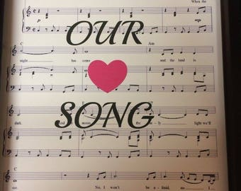 "Personalised Gift Sheet Music ""Our Song"" Anniversary gift"