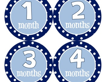 Baby Month Stickers INSTANT DOWNLOAD Printable Boy Navy Blue Bodysuit Month Stickers Monthly Boy Stickers Baby Shower Gift Photo Prop Jake2