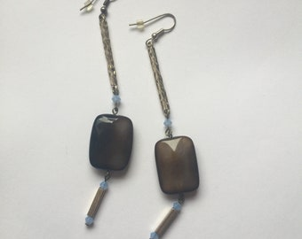 Hammered Bar Drop Agate Linear Earrings